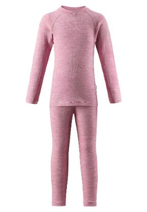 Kids' wool baselayer set Kinsei Dusty rose